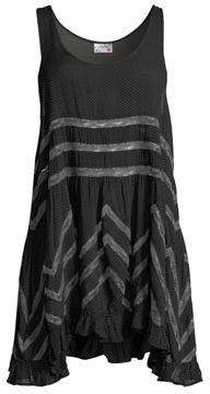 Free People Lace-Striped Voile Trapeze Dress