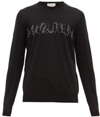 Alexander McQueen Skeleton Logo Jacquard Wool Sweater - Mens - Black