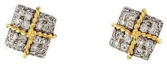 Verdura Diamond Wrapped Package Stud earrings