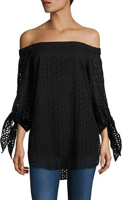Tibi Women's Antonina Eyelet Off-The-Shoulder Tunic