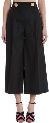 L'Autre Chose Cropped Black Cotton Trousers
