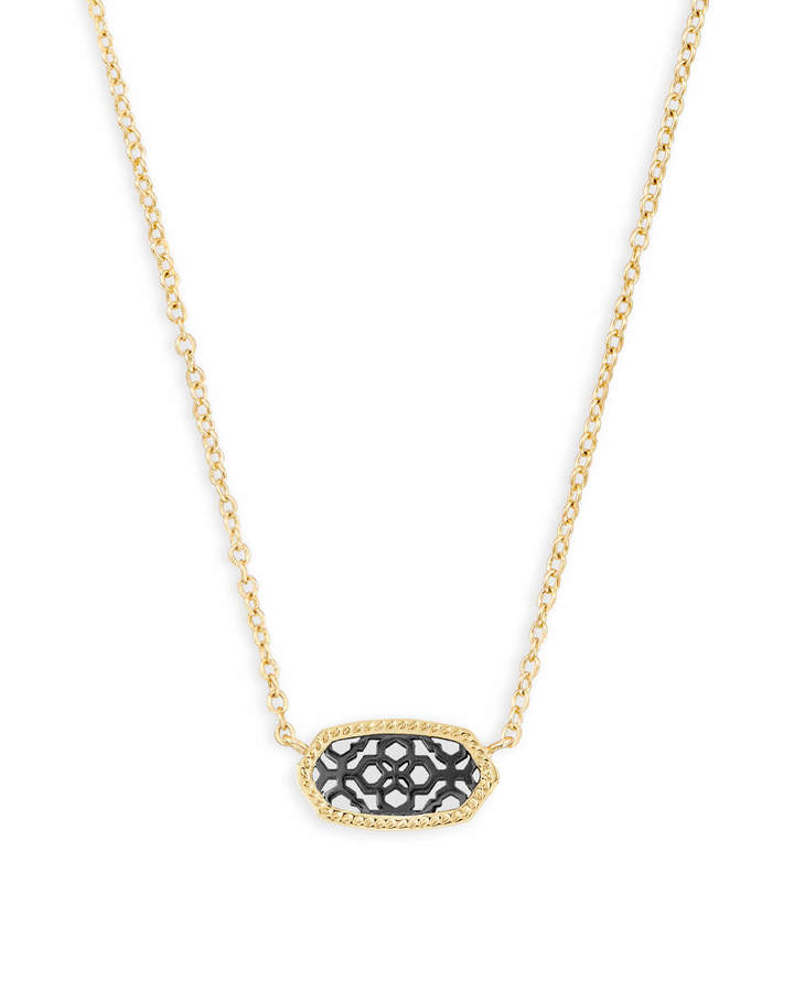 Kendra Scott Elisa Gold Pendant Necklace in Gunmetal Filigree