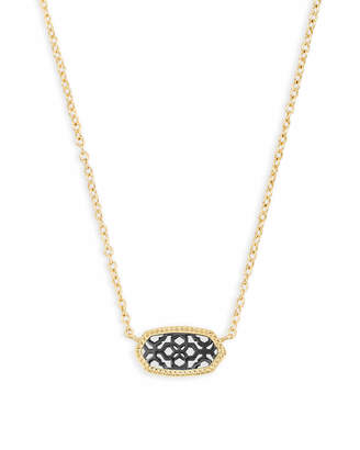 Kendra Scott Elisa Gold Pendant Necklace in Gunmetal Filigree