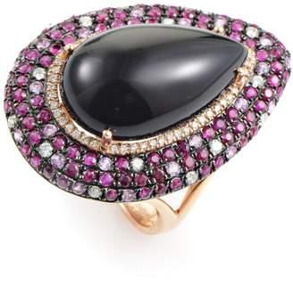 18K Rose Gold Diamond & Gemstone Cocktail Ring