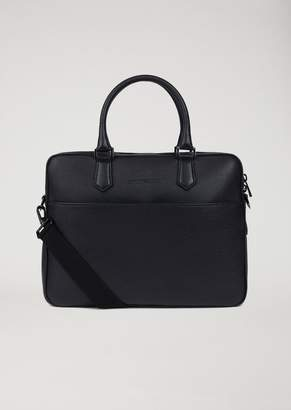 Emporio Armani Leather Briefcase With Detachable Shoulder Strap