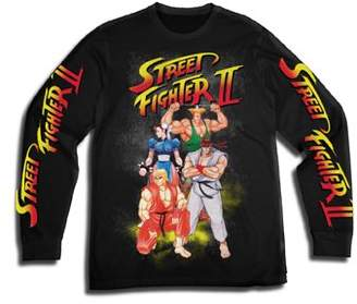 Gaming Street Fighter Men's Video Game Long Sleeve Graphic Tee with Sleeve Prints