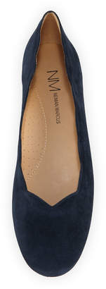 Neiman Marcus Saida Scalloped Ballet Flats, Navy