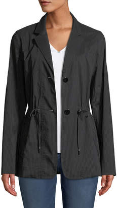 Lafayette 148 New York Porsha Sander Stripe Jacket w/ Adjustable Cord
