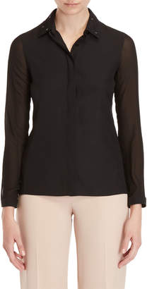 Akris Silk Accented Collar Shirt