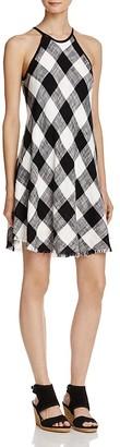 Bella Dahl Plaid Frayed Hem Halter Dress $150 thestylecure.com