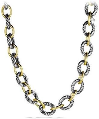 "David Yurman XL Sterling Silver & 18K Gold Link Necklace, 17"""