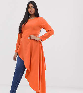 Verona Curve aysmetric long sleeved top in orange