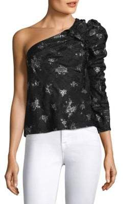 Rebecca Taylor One-Shoulder Glitter Top