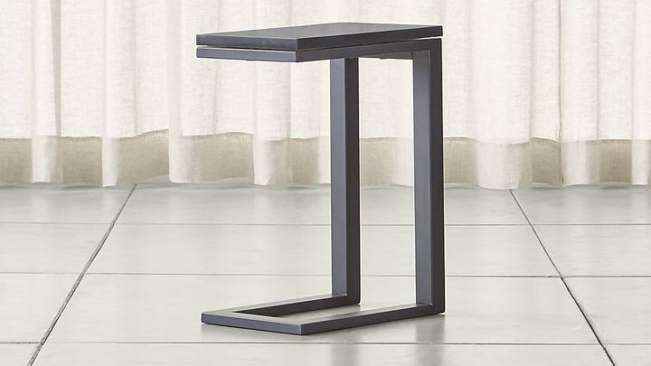 Crate & BarrelParsons Dark Steel C Table with Black Marble Top