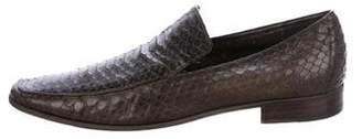 Bottega Veneta Python Round-Toe Loafers