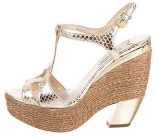 Miu Miu Snakeskin Espadrille Sandals