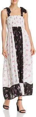 Aqua Color-Block Floral Print Maxi Dress - 100% Exclusive