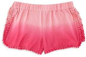 Design History Girls' Dip-Dyed Crochet-Trim Shorts - Little Kid