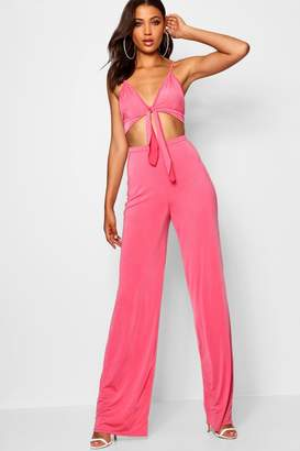 boohoo Tall Tie Front Crop + Trouser Co-ord