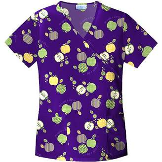Simply Basic Apple Festival Mock Wrap Scrub Top
