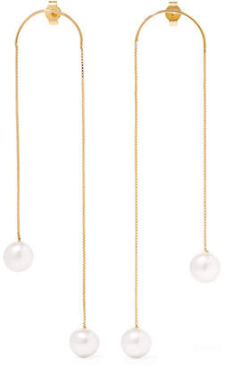 Saskia Diez Dancing No2 Gold-plated Pearl Earrings