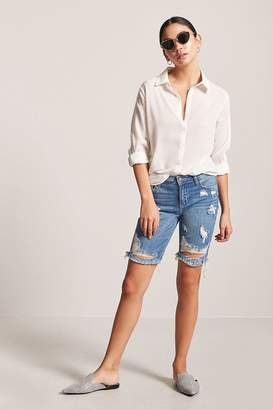 Forever 21 Distressed Denim Bermuda Shorts