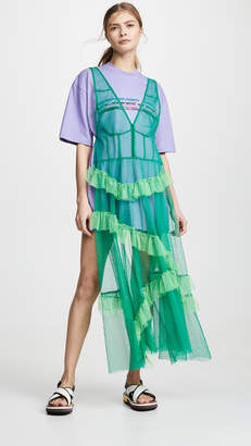 pushBUTTON T-shirt Dress with Ruffle Tulle Apron Overlay