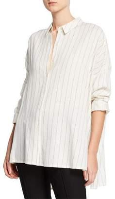 Eileen Fisher Striped Gauze Button-Front Classic Collar Boxy Shirt