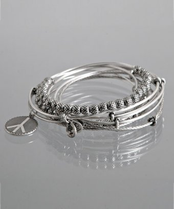 Alex and Ani set of 7 - silver peace charm expandable wire bangles
