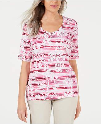 Karen Scott Petite Floral-Print Striped Top
