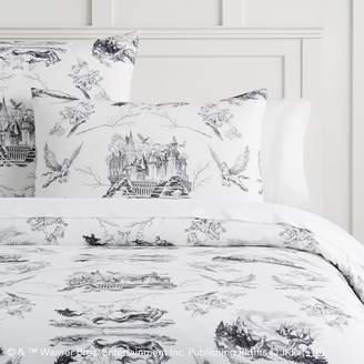 Pottery Barn Teen HARRY POTTER & Etched Scenes Duvet Cover, Twin/Twin XL, Ivory/Black