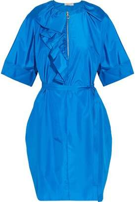 Nina Ricci Ruffle-Trimmed Silk-Poplin Dress