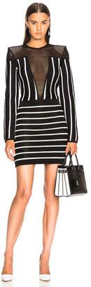 Balmain Mesh Detail Striped Mini Dress