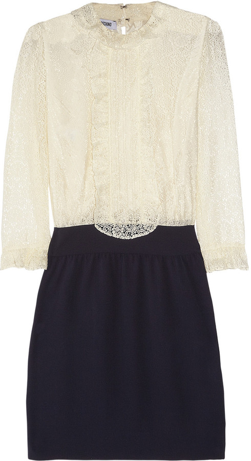 Moschino Lace and silk-crepe dress