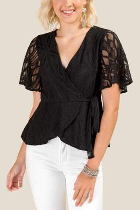 francesca's Tabitha Lace Wrap Blouse - Black