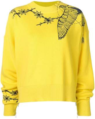 Sacai boxy embroidered sweater