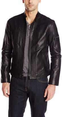 John Varvatos Collection Men's Short Zip Leather Jacket
