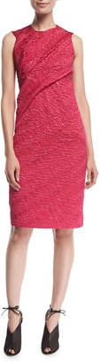 Narciso Rodriguez Sleeveless Draped Cloque Sheath Dress