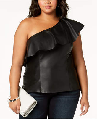 INC International Concepts I.n.c. Plus Size One-Shoulder Faux-Leather Top, Created for Macy's