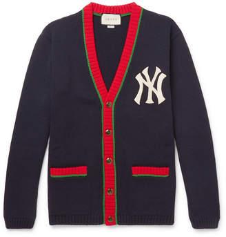Gucci + New York Yankees Appliquéd Wool Cardigan