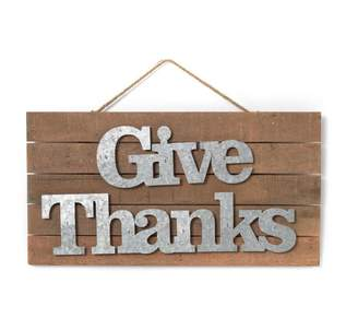 Pottery Barn Give Thanks Wood Sign