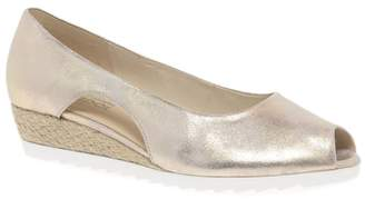 Gabor Gold Leather 'Roseford' Low Heeled Wedges