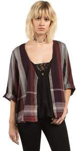 Volcom Women's Well Plaid Button Up Throw Top