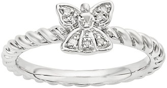 Simply Stacks Sterling Diamond Angel Ring