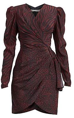 Altuzarra Women's Annette Mixed Animal-Print Silk Wrap Dress