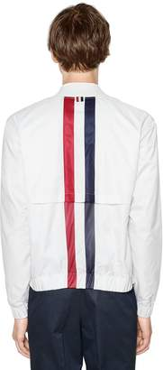Thom Browne Striped Zip-Up Nylon Bomber Jacket