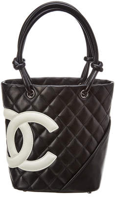 Chanel Black Quilted Calfskin Leather Small Cambon Tote