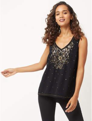 Bell Black Sequin Embellished Sleeveless Blouse