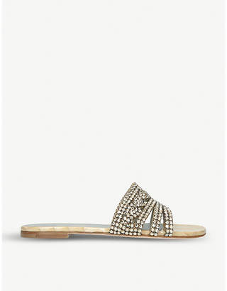 Gina Loren crystal-embellished leather sandals