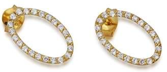 Babette Wasserman Women's 18ct Yellow Gold Plated Sterling Silver Round Clear Zircon Oval Earrings